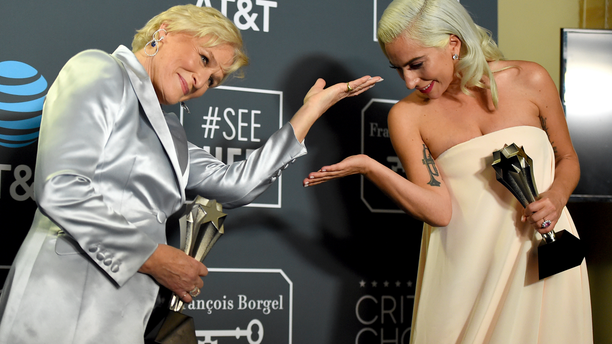 Glenn Close, left, and Lady Gaga pose in the press room after tieing for best actress at the 24th annual Critics' Choice Awards in Santa Monica, Calif. this past January. (Photo by Jordan Strauss/Invision/AP)