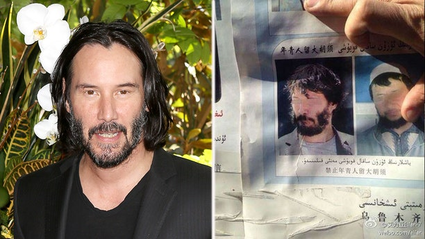 "A picture of ""Matrix"" actor Keanu Reeves (left) appeared to be featured in Chinese government posters (right)"