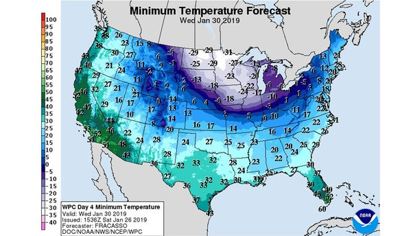 The low temperatures forecast for Wednesday across the Midwest.