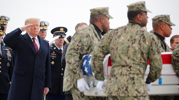 President Donald Trump salutes as a military honor guard carries the remains of Scott Wirtz, a civilian employee of the U.S. Defense Intelligence Agency killed along with three members of the U.S. military during a recent attack in Syria, past during a dignified transfer ceremony at Dover Air Force Base, in Dover, Delaware, U.S., January 19, 2019. REUTERS/Carlos Barria - RC18A626C300