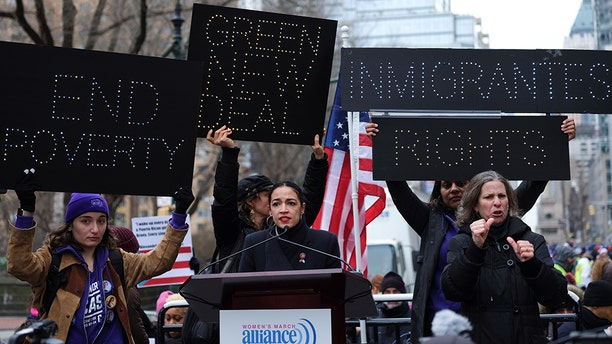 Rep. Alexandria Ocasio-Cortez (D-NY) speaks during a march organized by the Women's March Alliance in the Manhattan borough of New York City, U.S., January 19, 2019. REUTERS/Caitlin Ochs - RC1647E36CA0