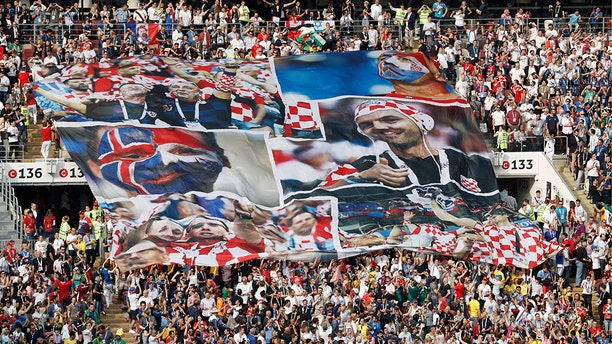 Croatia's fans cheer prior to the Russia 2018 World Cup final football match between France and Croatia at the Luzhniki Stadium in Moscow on July 15, 2018. (ADRIAN DENNIS/AFP/Getty Images)
