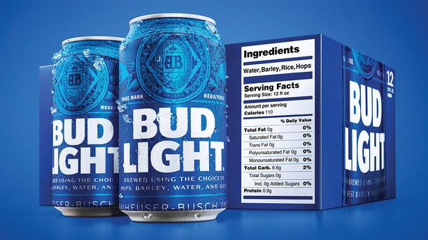 Packages of Bud Light will have prominent labels showing the beer's calories and ingredients as well as the amount of fat, carbohydrates and protein in a serving.<br>