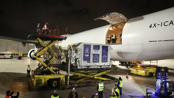 The Beresheet spacecraft, inside a temperature-controlled shipping container, was loaded into a cargo plane at Israel's Ben Gurion Airport and then flown to Florida.