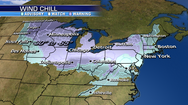 Wind chill warnings and advisories span the Midwest and Northeast due to the polar vortex.