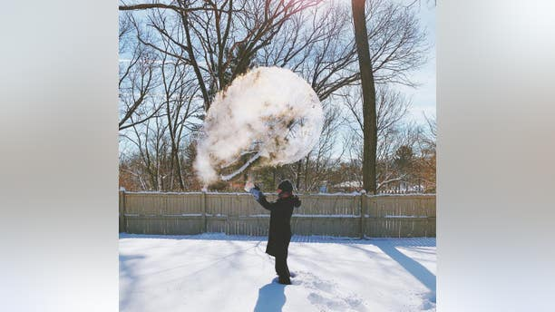 "A cloud of ""smoke"" is seen in Westwood, Michigan, during the January 2019 polar vortex."