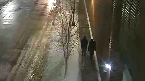 """This image provided by the Chicago Police Department and taken from surveillance video shows two people of interest in an attack on """"Empire"""" actor Jussie Smollett walking along a street in the Streeterville neighborhood of Chicago, early Tuesday, Jan. 29, 2019."""