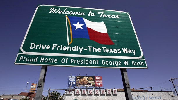 A sign welcoming people to Texas is seen in El Paso, April 15, 2006. The state is the No. 1 destination for California residents fleeing the Golden State. (Getty Images)