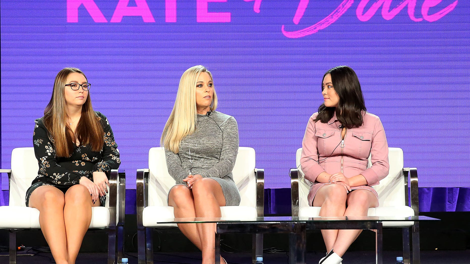 """L-R) Cara Gosselin, Kate Gosselin, and Mady Gosselin of the television show """"Kate Plus Date"""" speak during the HGTV segment of the 2019 Winter Television Critics Association Press Tour at The Langham Huntington, Pasadena on February 12, 2019 in Pasadena, Calif. (Frederick M. Brown/Getty Images"""