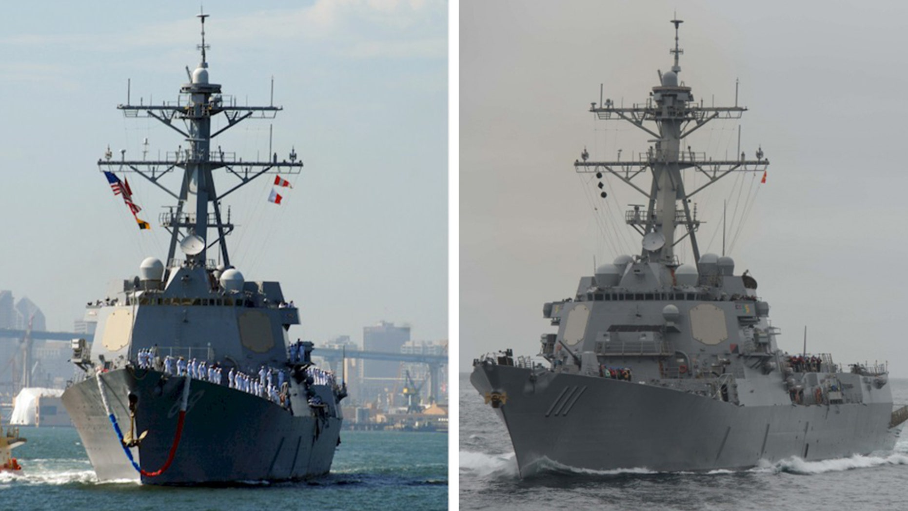 The Navy sent USS Preble, left, and USS Spruance, right, near the Chinese manmade island of Mischief Reef in the South China Sea, the location of several territorial conflicts that have raised tensions in the region. (Mass Communication Specialist Seaman Apprentice Joshua Leonard / U.S. Navy photo)