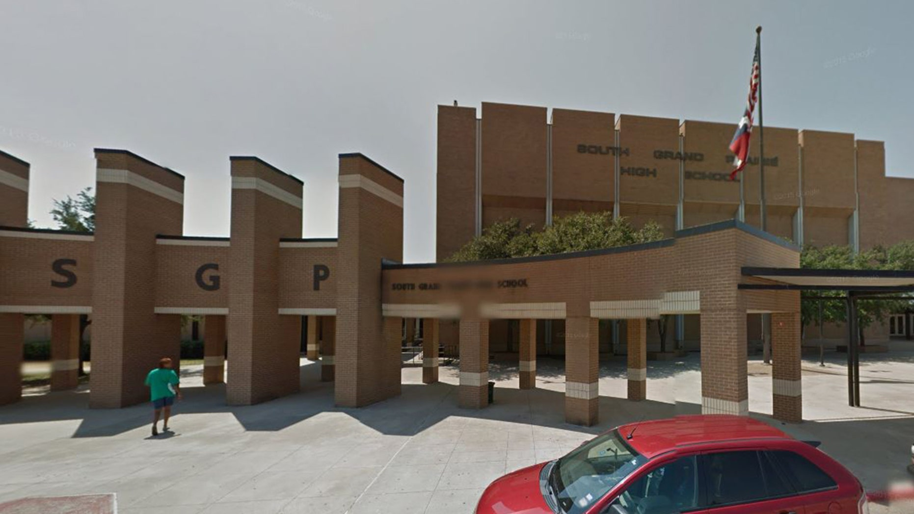 A street view image of South Grand Prairie Early College High School in Texas.
