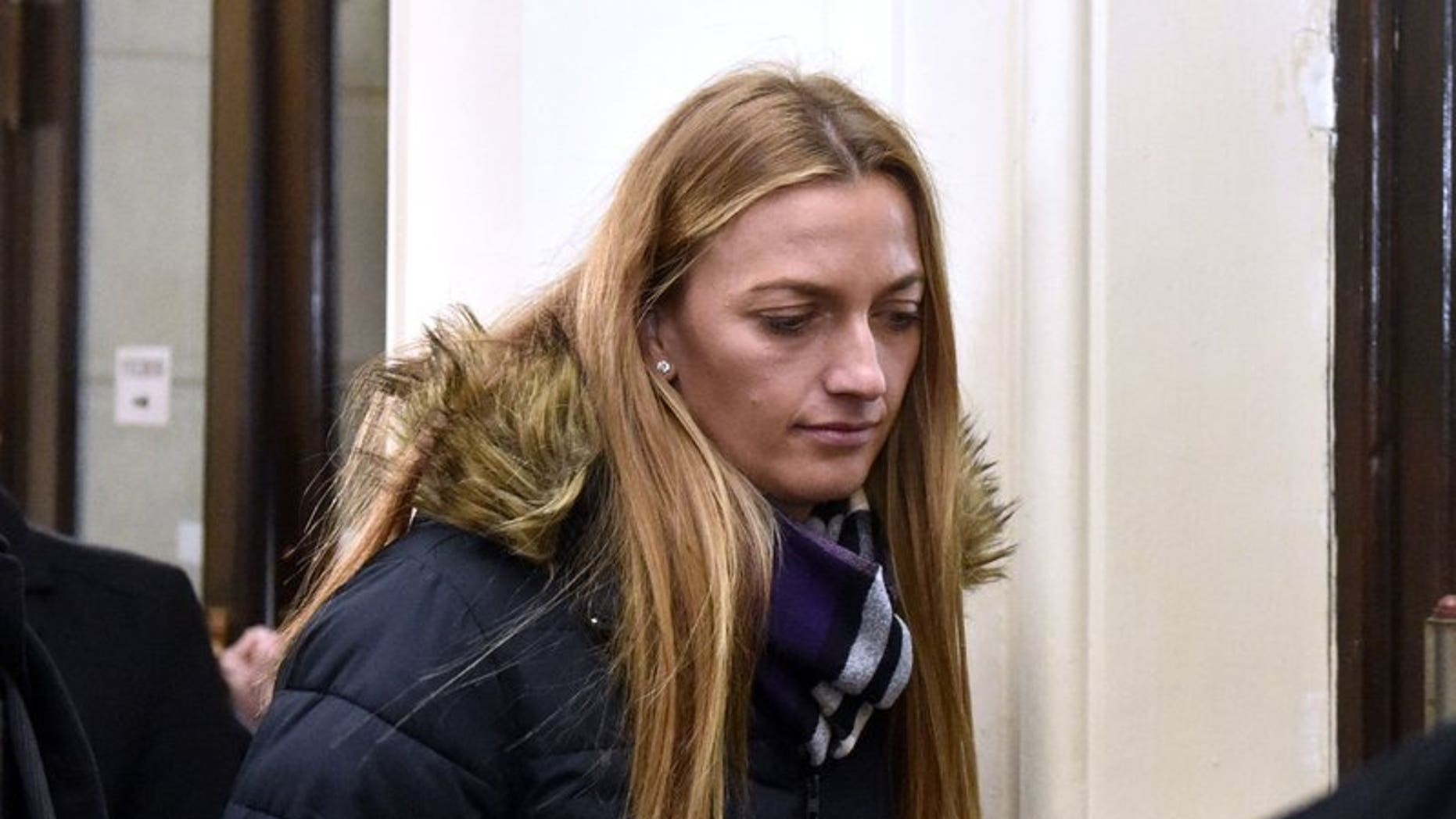 Czech tennis player Petra Kvitova leaves the Regional Court in Brno after giving a testimony during a trial with a man who is suspected of attacking her on Tuesday, Feb. 5, 2019.