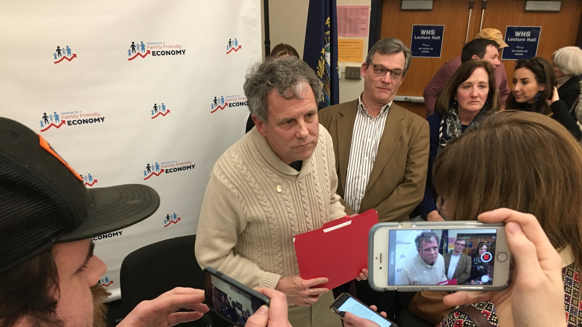 Sherrod Brown in New Hampshire on Friday. (Paul Steinhauser)
