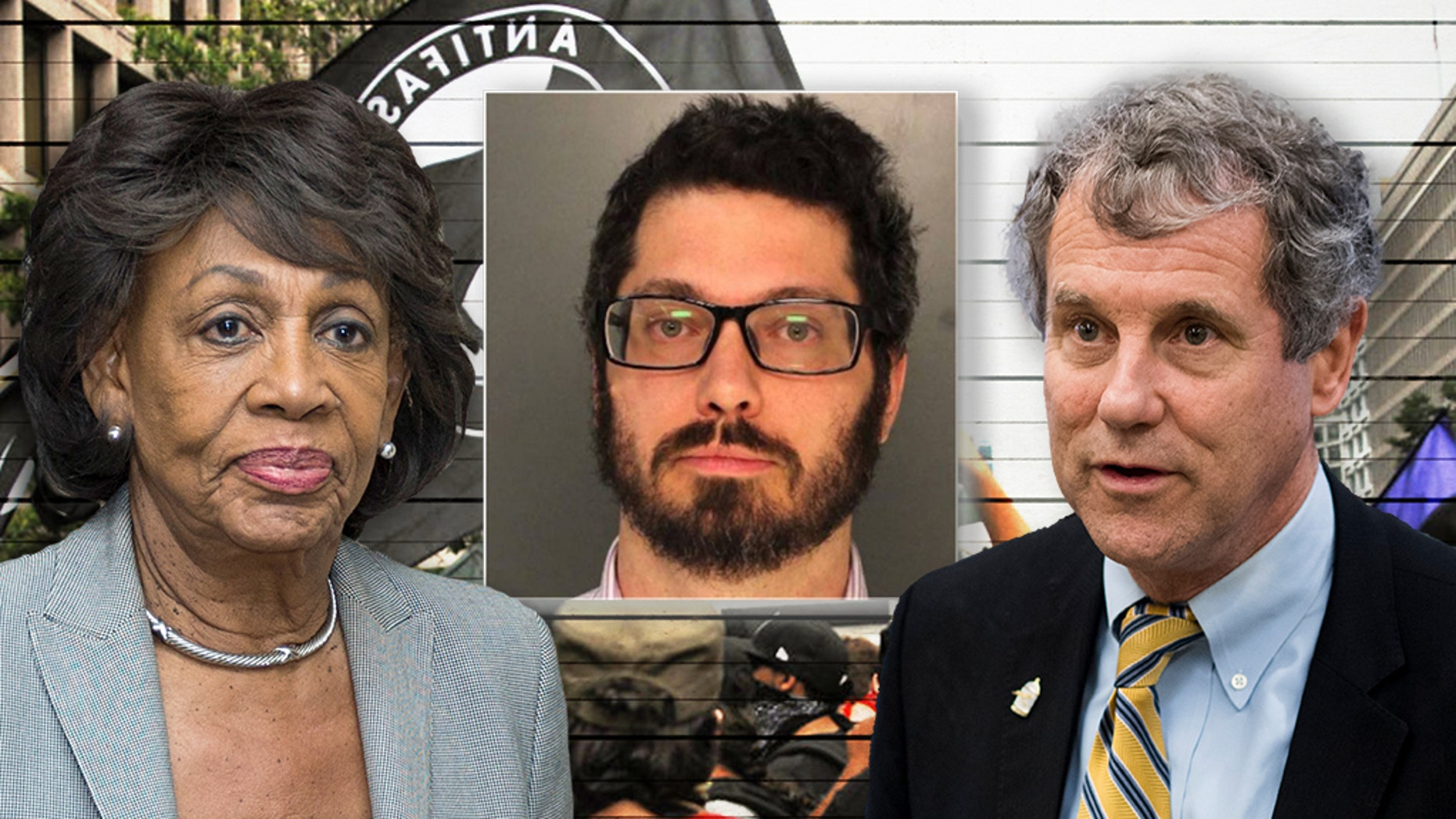 Joseph Alcoff, center, has been pictured with Rep. Maxine Waters, left, and Sen. Sherrod Brown, right.