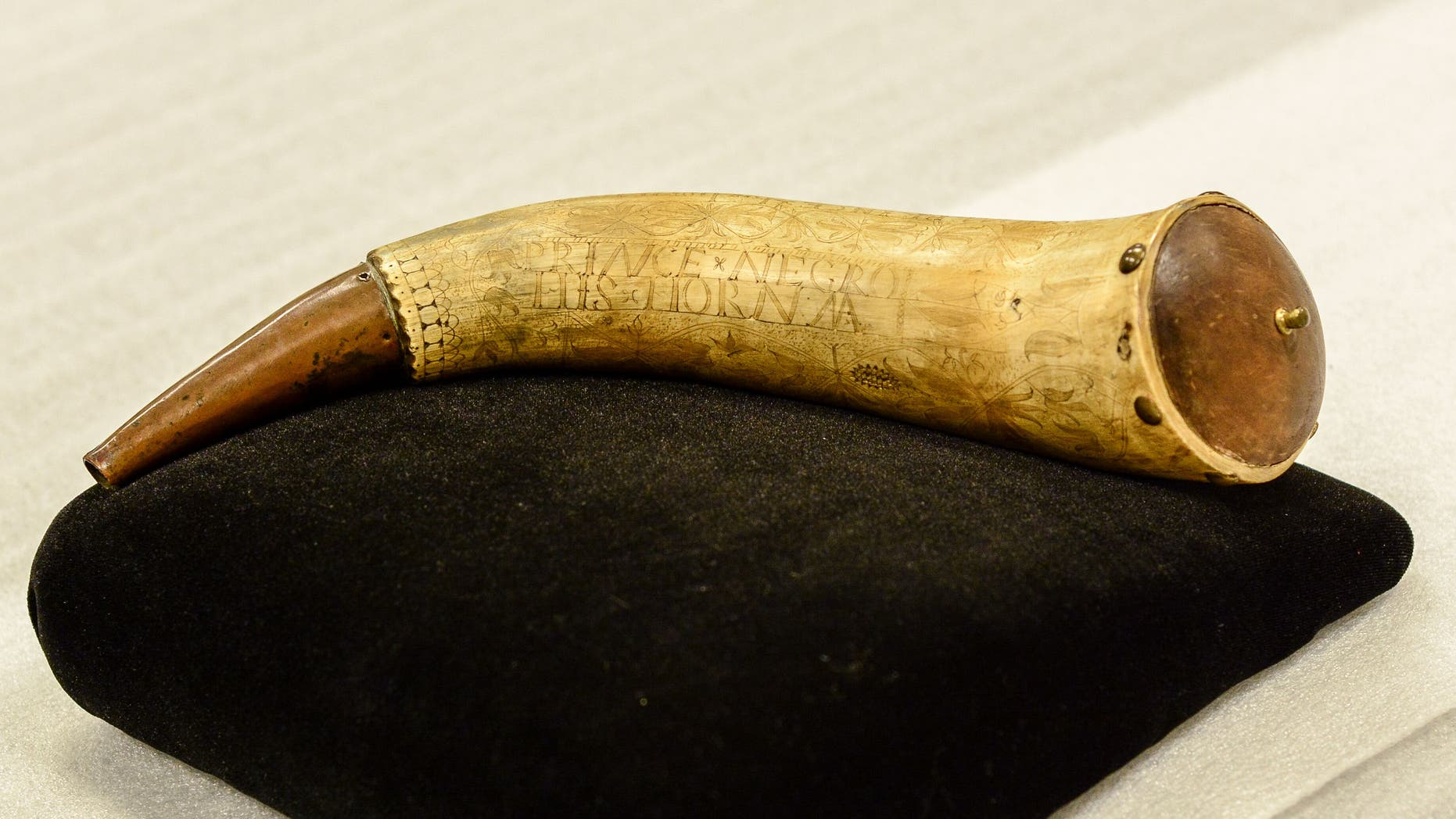 The horn belonged to African American Revolutionary War soldier Gershom Prince.