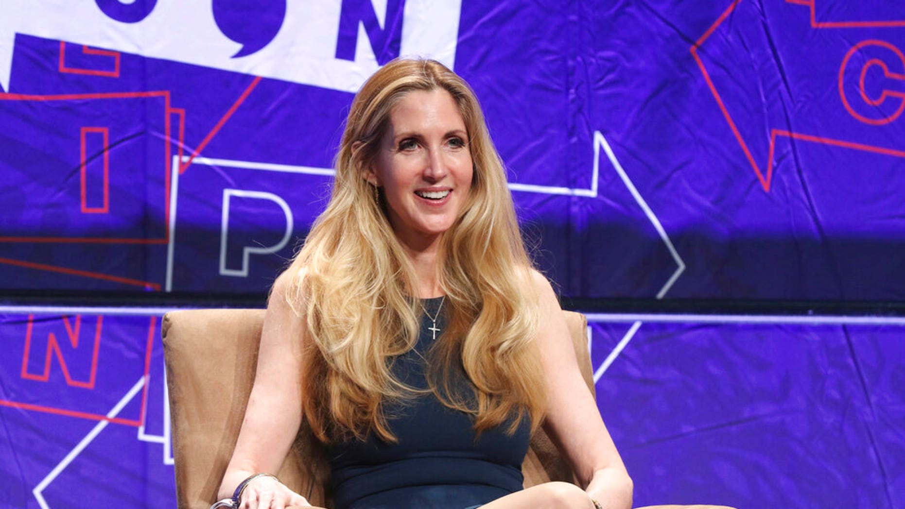 """FILE: Ann Coulter participates in the """"AAA: Ask Ann Anything"""" panel at Politicon in Los Angeles."""
