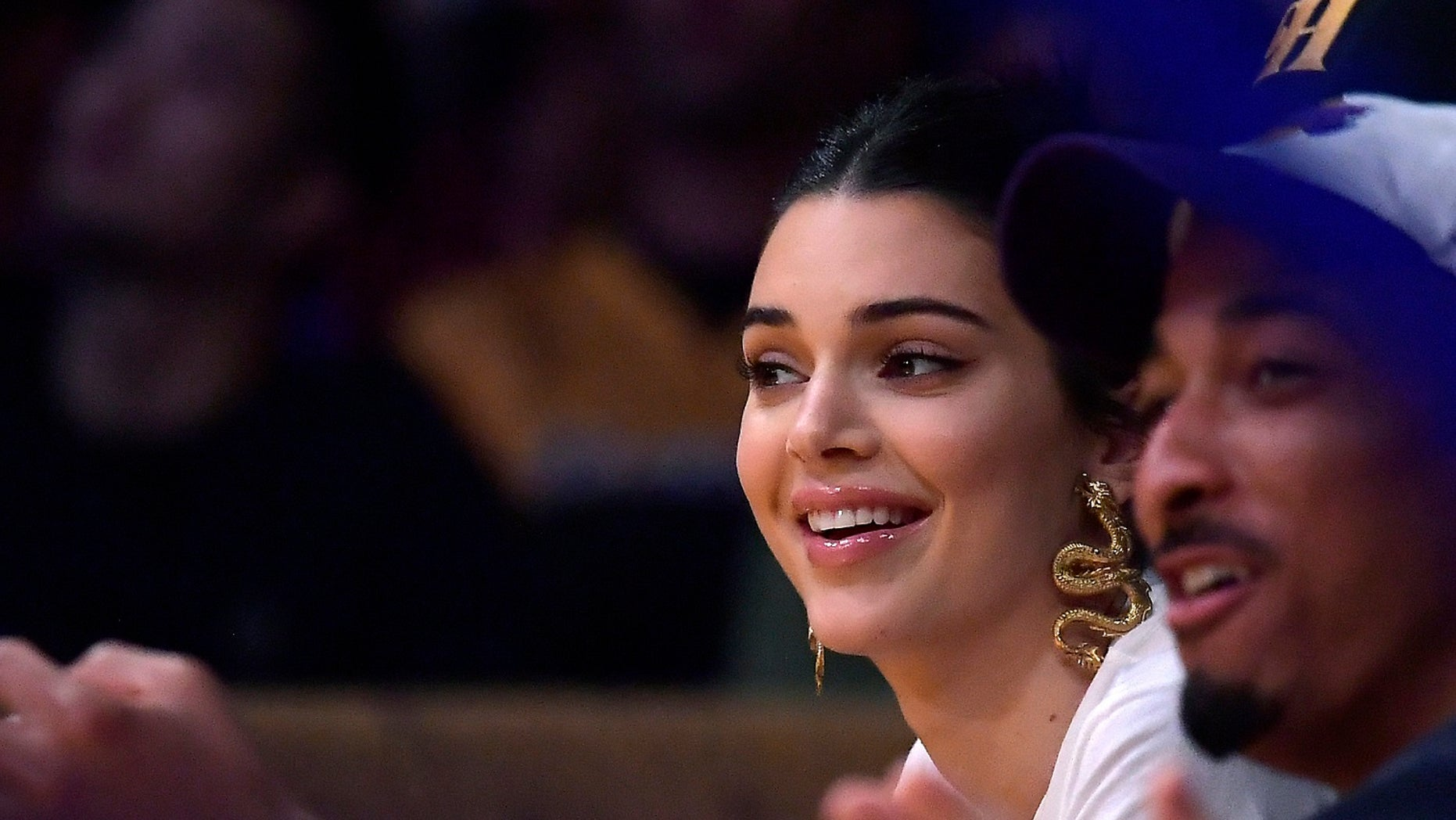 Kendall Jenner during the Lakers v. 76ers game on Tuesday, Jan. 29, 2019.
