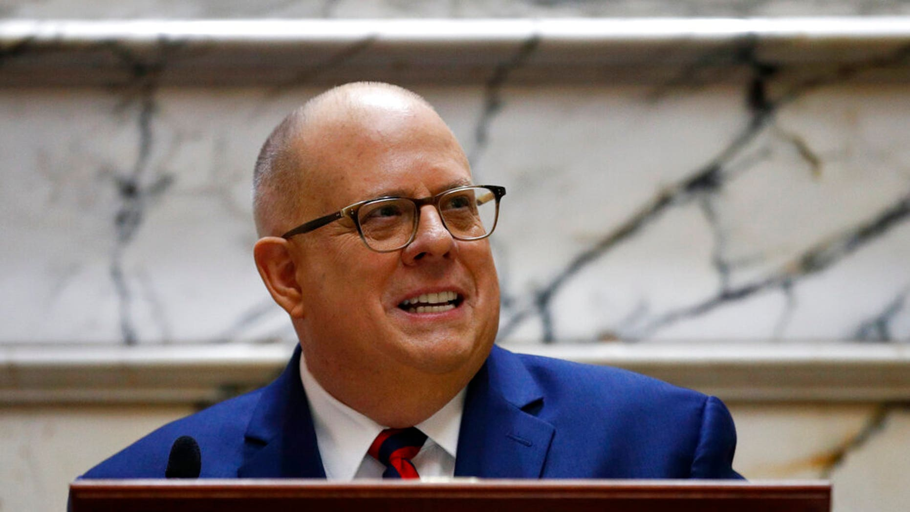 Maryland Gov. Larry Hogan, seen here in January 2019, is headed to New Hampshire for a major speech in April. (AP Photo/Patrick Semansky, File)