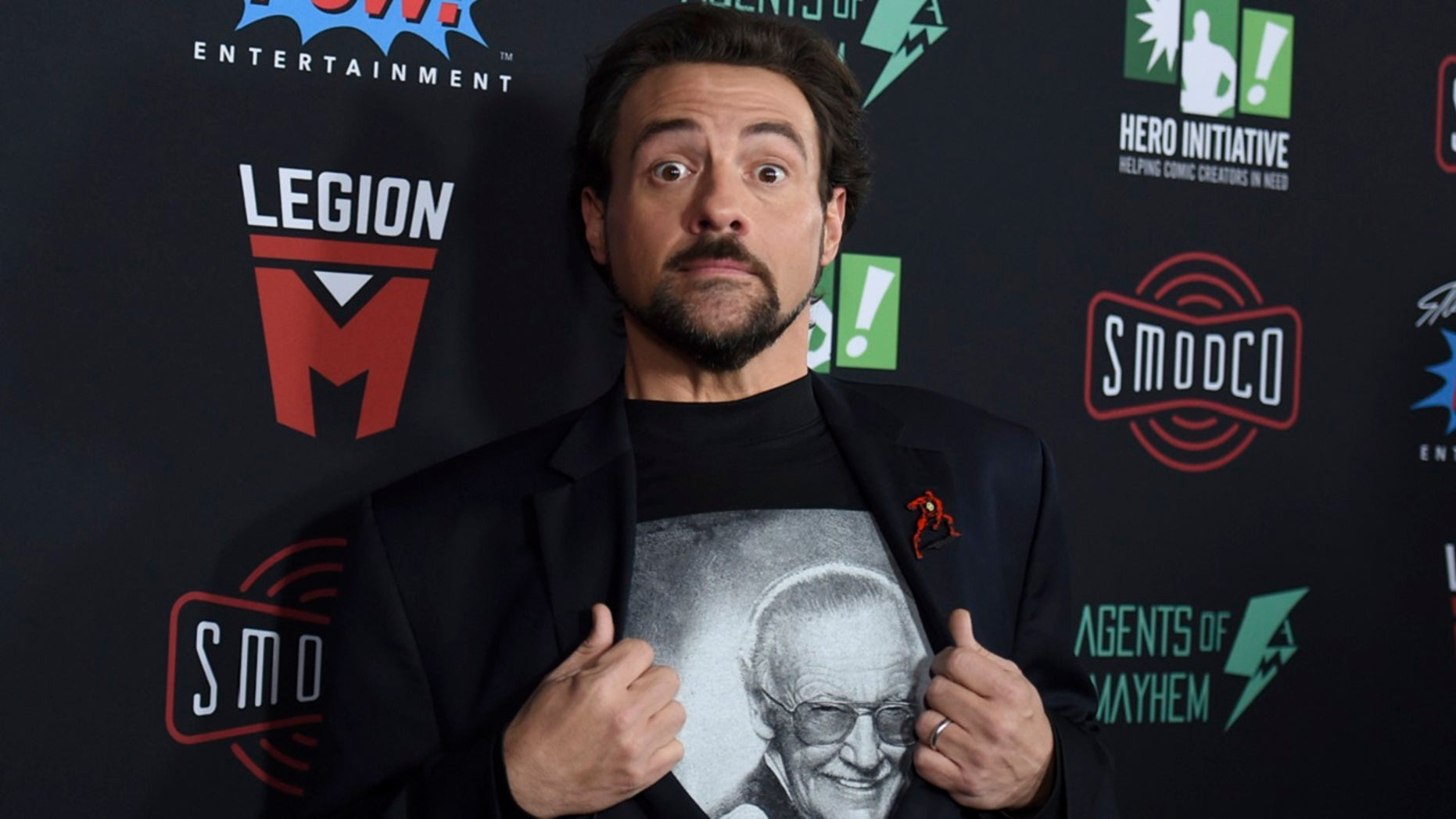 FILE: Kevin Smith arrives at Excelsior! A Celebration of the Amazing, Fantastic, Incredible & Uncanny Life of Stan Lee on Wednesday, Jan. 30, 2019, at the TCL Chinese Theatre in Los Angeles. (Invision via Associated Press)