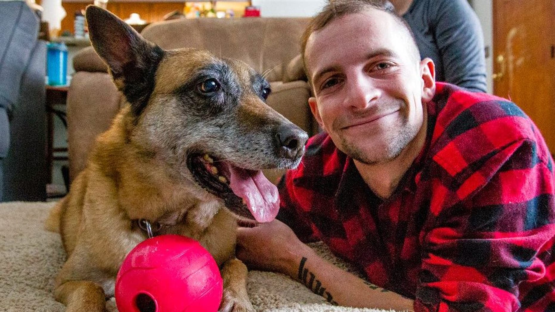 Veteran Joe Steenbeke was reunited with Tess on Saturday after the two served together in Afghanistan years ago.