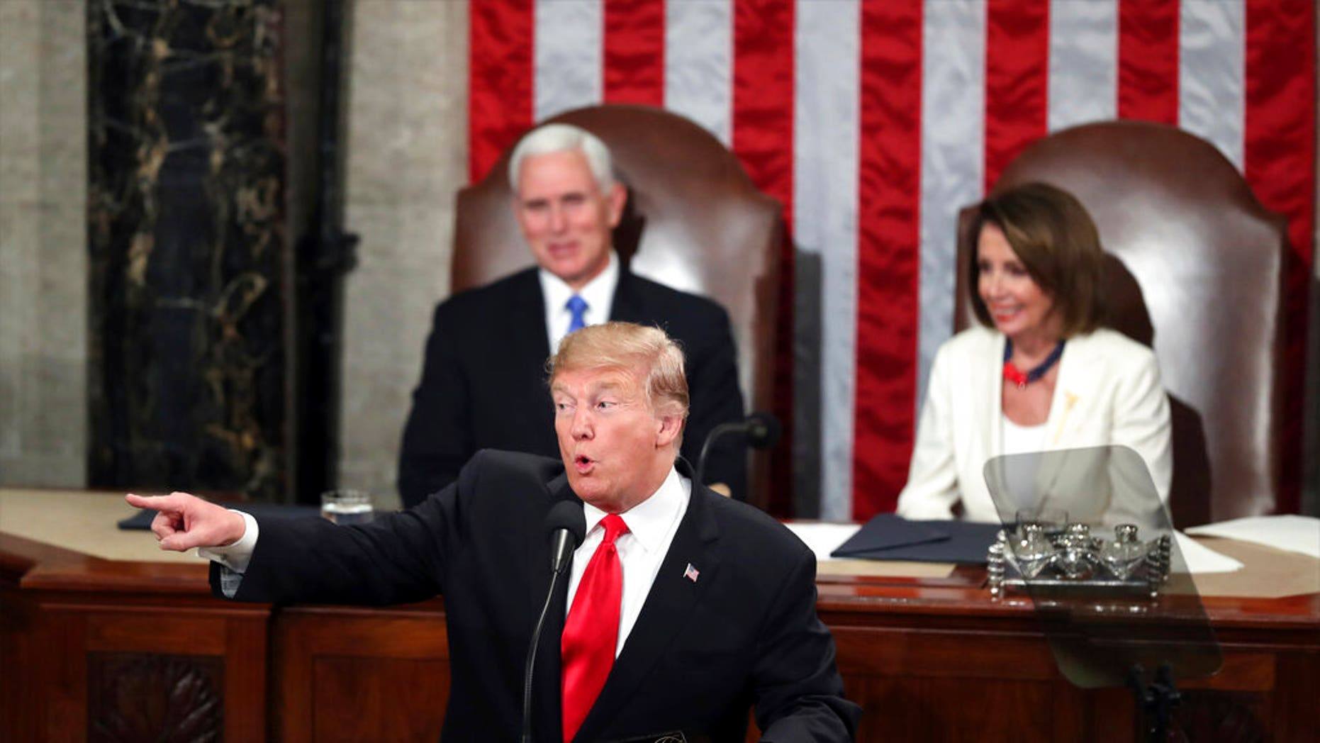 President Trump delivering his State of the Union address Tuesday. (AP Photo/Andrew Harnik)