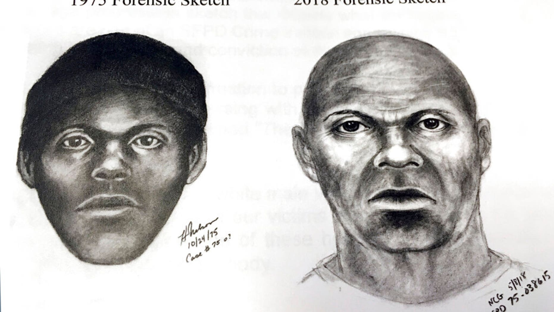 This pair of sketches provided by the San Francisco Police Department shows what a serial killer might look like now in a cold case involving at least five stabbing deaths of gay men in the mid-1970s in San Francisco.