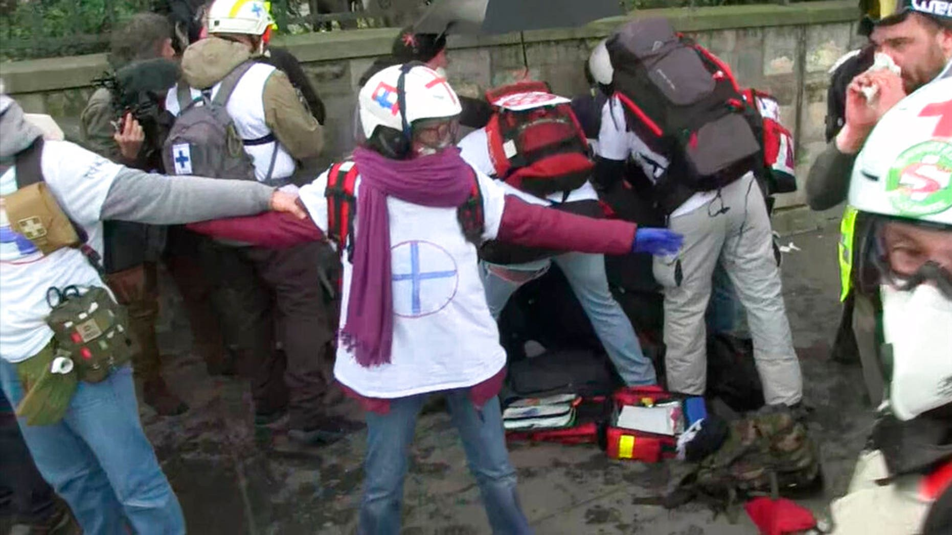 """Rescue services look after a Yellow Vest demonstrator who sustained a serious hand injury on Saturday, February 9, 201<div class=""""e3lan e3lan-in-post1""""><script async src=""""//pagead2.googlesyndication.com/pagead/js/adsbygoogle.js""""></script> <!-- Text_Display_Responsive --> <ins class=""""adsbygoogle""""      style=""""display:block""""      data-ad-client=""""ca-pub-6192903739091894""""      data-ad-slot=""""3136787391""""      data-ad-format=""""auto""""      data-full-width-responsive=""""true""""></ins> <script> (adsbygoogle = window.adsbygoogle 