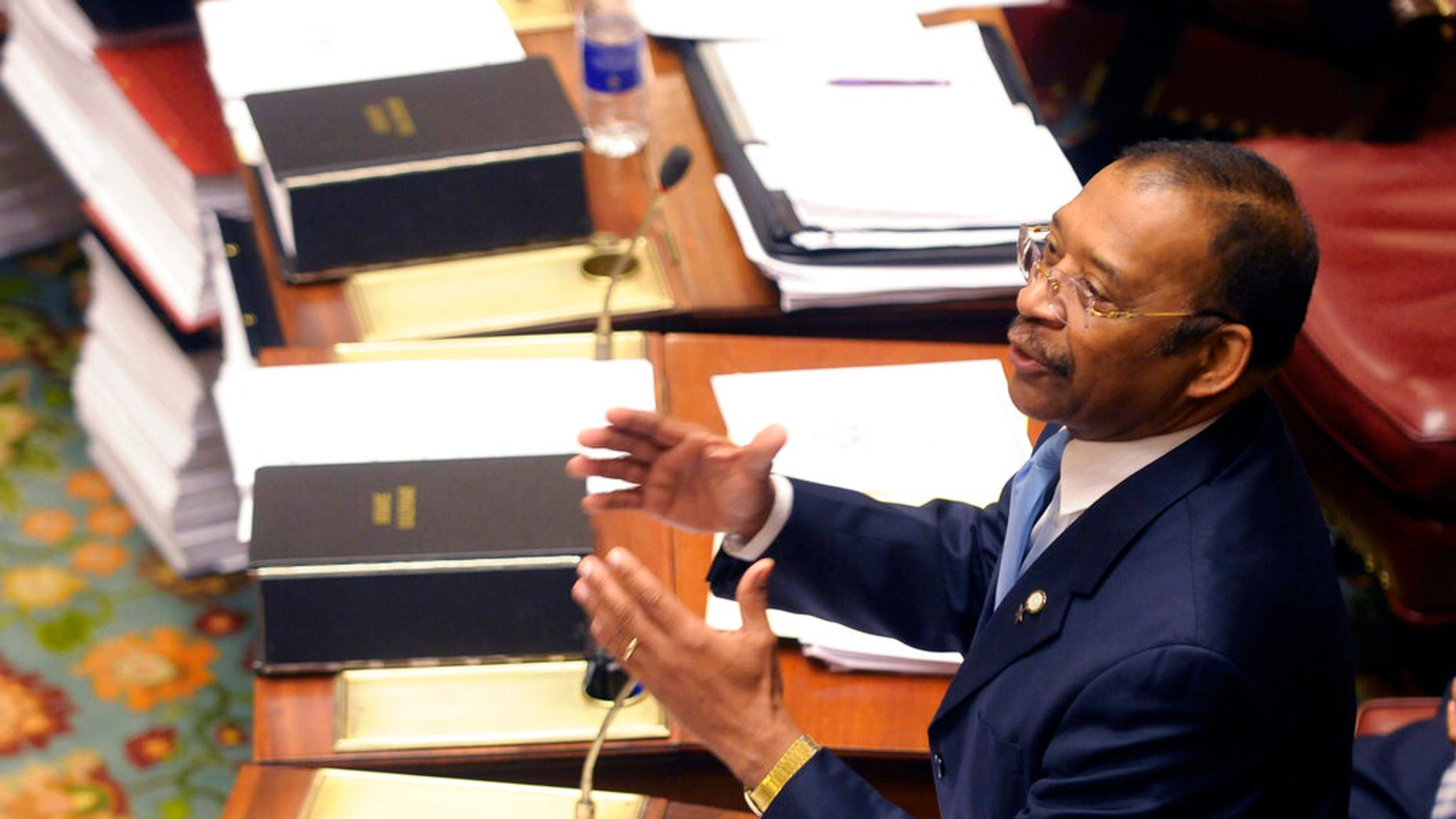 FILE: Sen. Ruben Diaz, Sr. , D-Soundview, speaks during a session of the New York state Senate at the Capitol in Albany, N.Y.