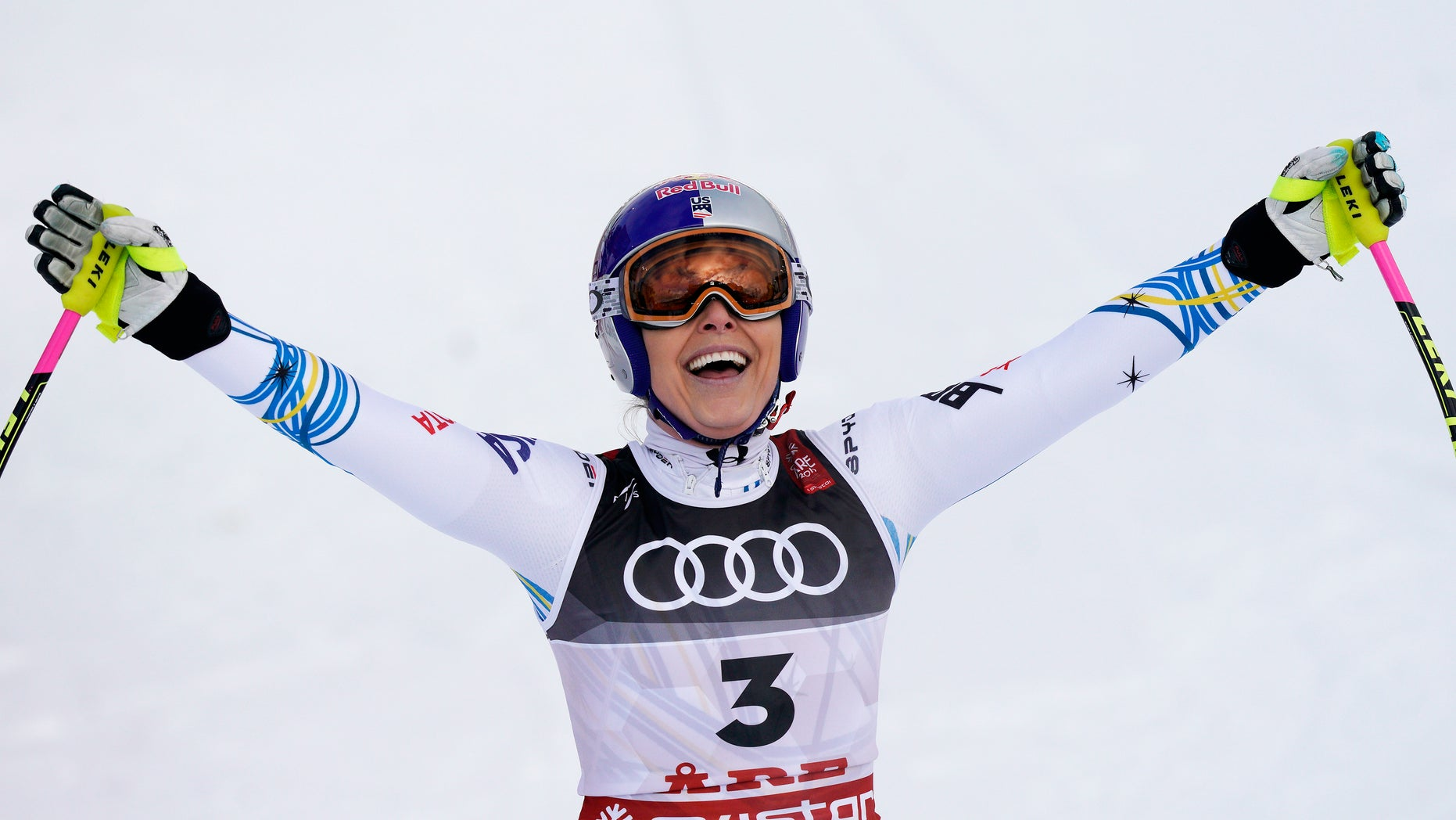 United States' Lindsey Vonn smiles in the finish area after the women's downhill race, at the alpine ski World Championships in Are, Sweden, Sunday, Feb. 10, 2019.