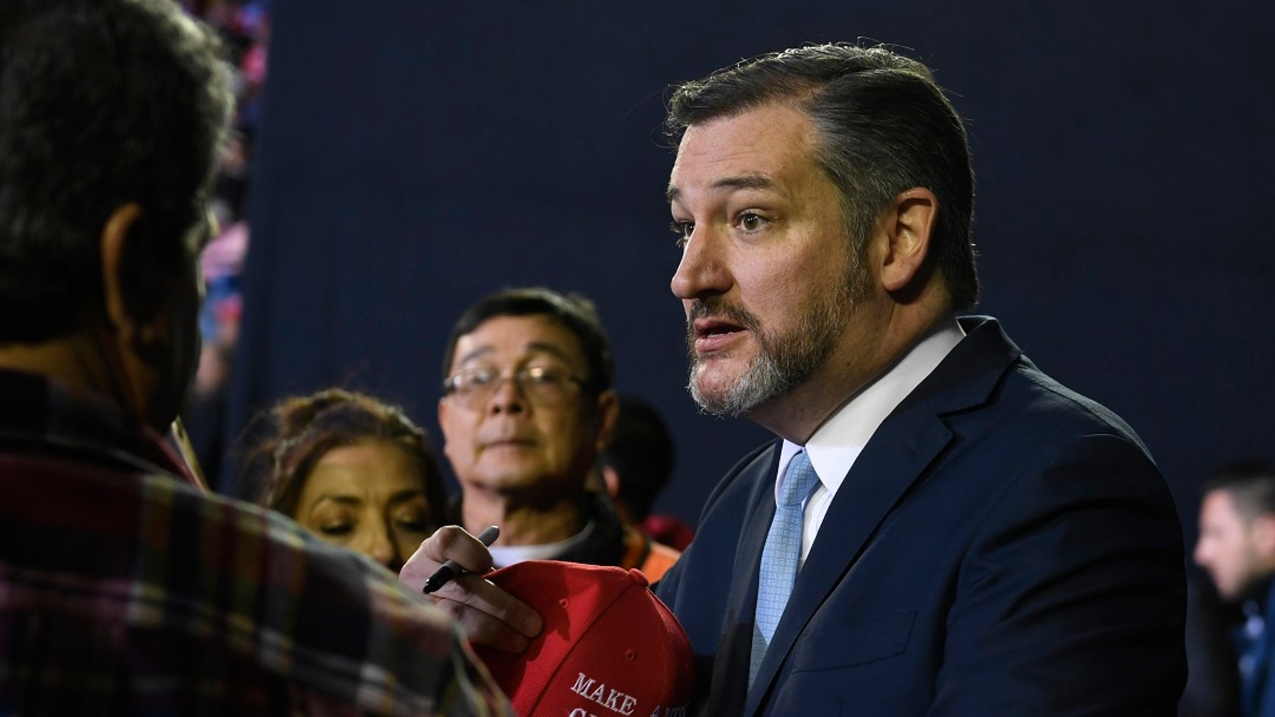 Sen. Ted Cruz, R-Texas, attends a rally with President Trump in El Paso in February. (AP Photo/Susan Walsh)