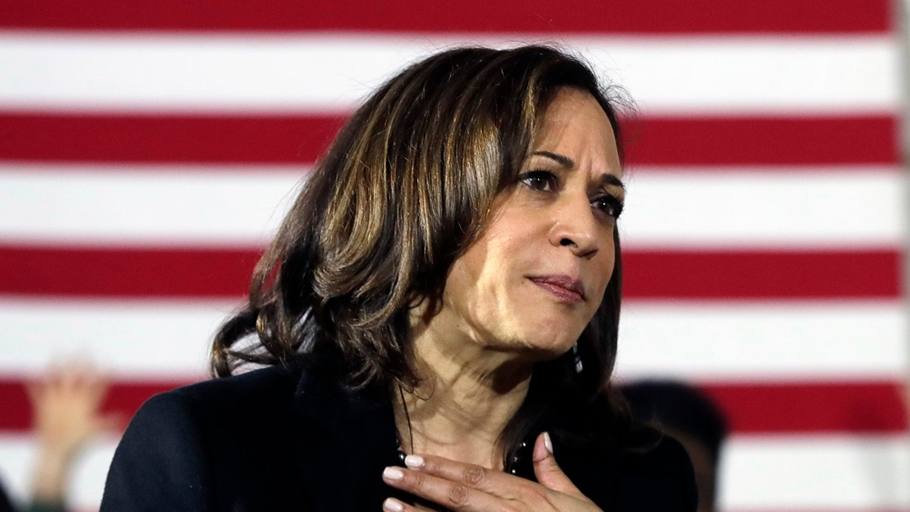 Democratic presidential candidate Sen. Kamala Harris, D-Calif., listens to a question at a campaign event in Portsmouth, N.H., last month. (AP Photo/Elise Amendola)