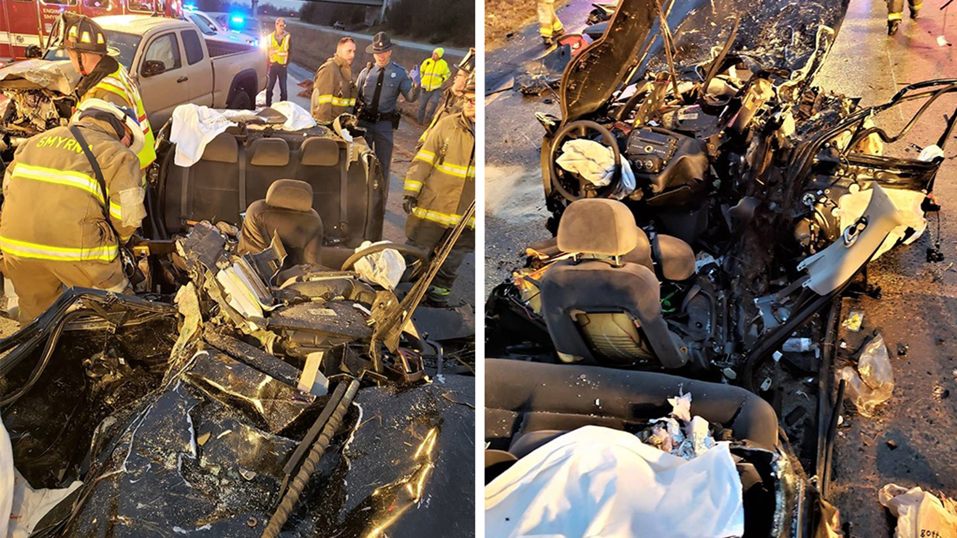Four Delaware State University students were injured in a car accident on Saturday, officials said.