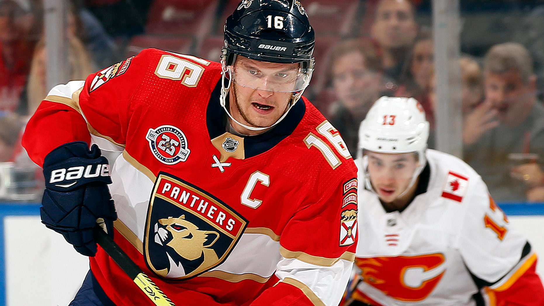FEBRUARY 14: Aleksander Barkov of the Florida Panthers skates with the puck against the Calgary Flames. (GETTY)
