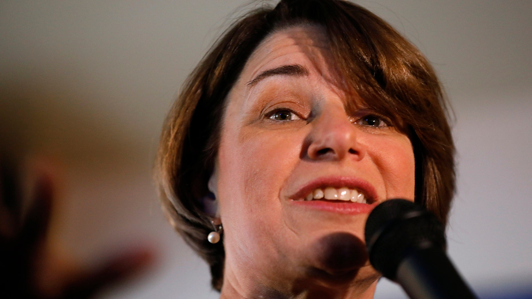 U.S. Sen. Amy Klobuchar, D-Minn., speaks during a meet and greet with local residents, Saturday, Feb. 16, 2019, in Mason City, Iowa. AP
