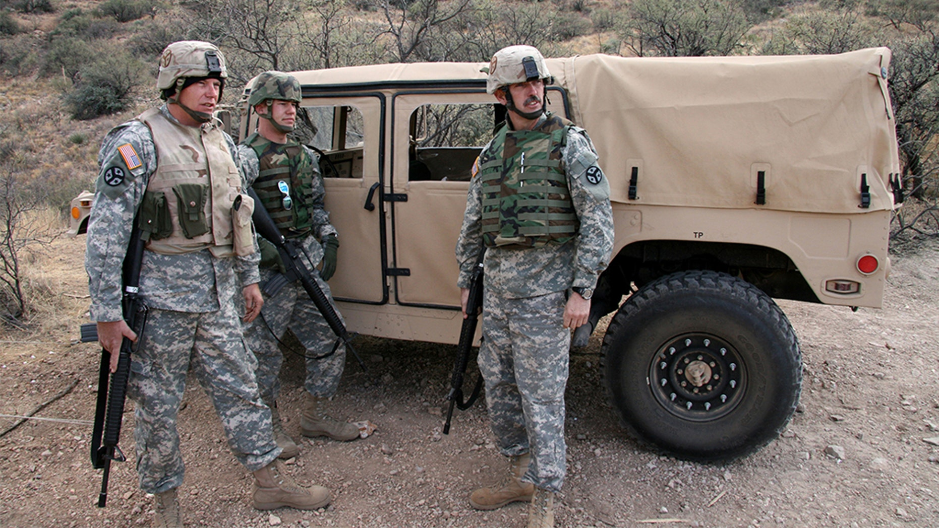 Soldiers from the Tennessee Army National Guard keep an eye out for signs of illegal activity along the U.S./Mexico border in the Sasabe District of Arizona Jan. 19. (Photo Credit: Sgt. 1st Class Gordon Hyde)