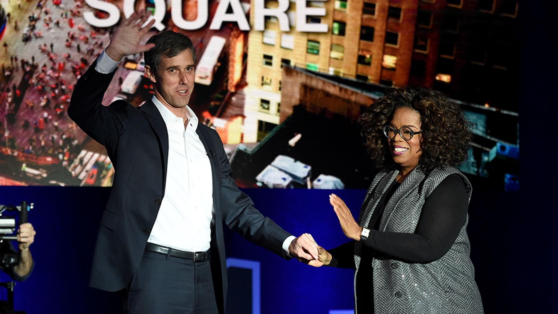 In an interview Tuesday, Oprah Winfrey encouraged Democrat Beto O'Rourke to seek the presidency. (Jamie McCarthy/Getty)