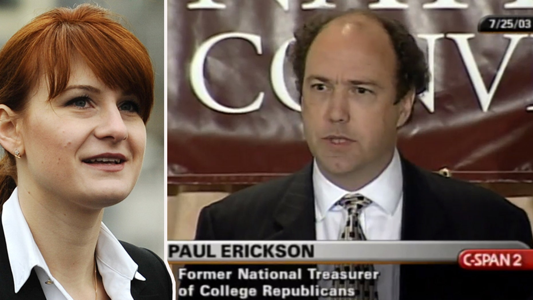 The South Dakota U.S. Attorney's Office said Wednesday that Paul Erickson, right, pleaded not guilty to 11 counts of wire fraud and money laundering. The charges appear unrelated to the case of his girlfriend Maria Butina, left, whopleaded guilty in Decemberfor trying to infiltrate conservative political groups.