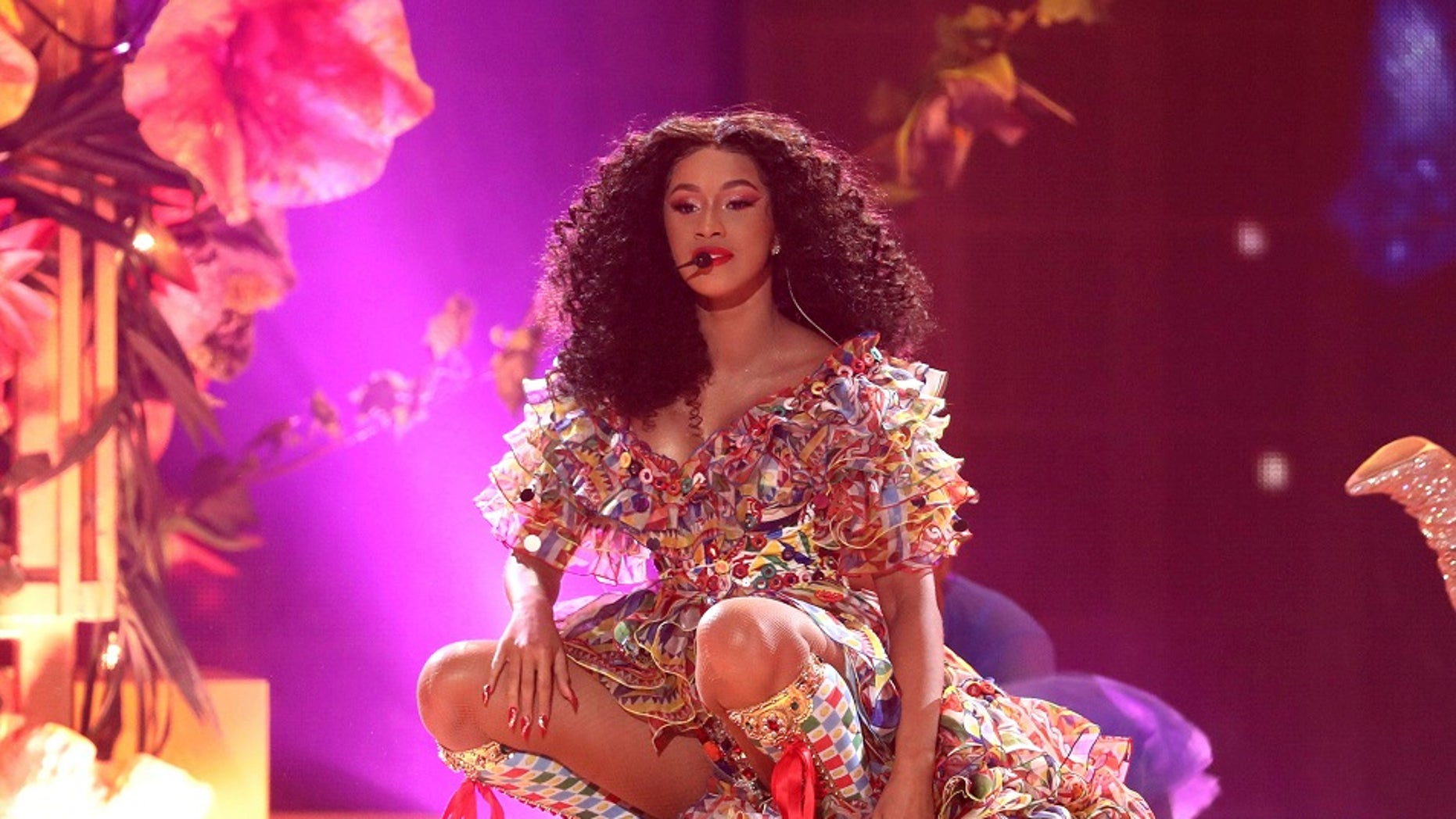 """Cardi B performs """"I Like It"""" at the American Music Awards at the Microsoft Theater in Los Angeles, Oct. 9, 2018. (Associated Press)"""