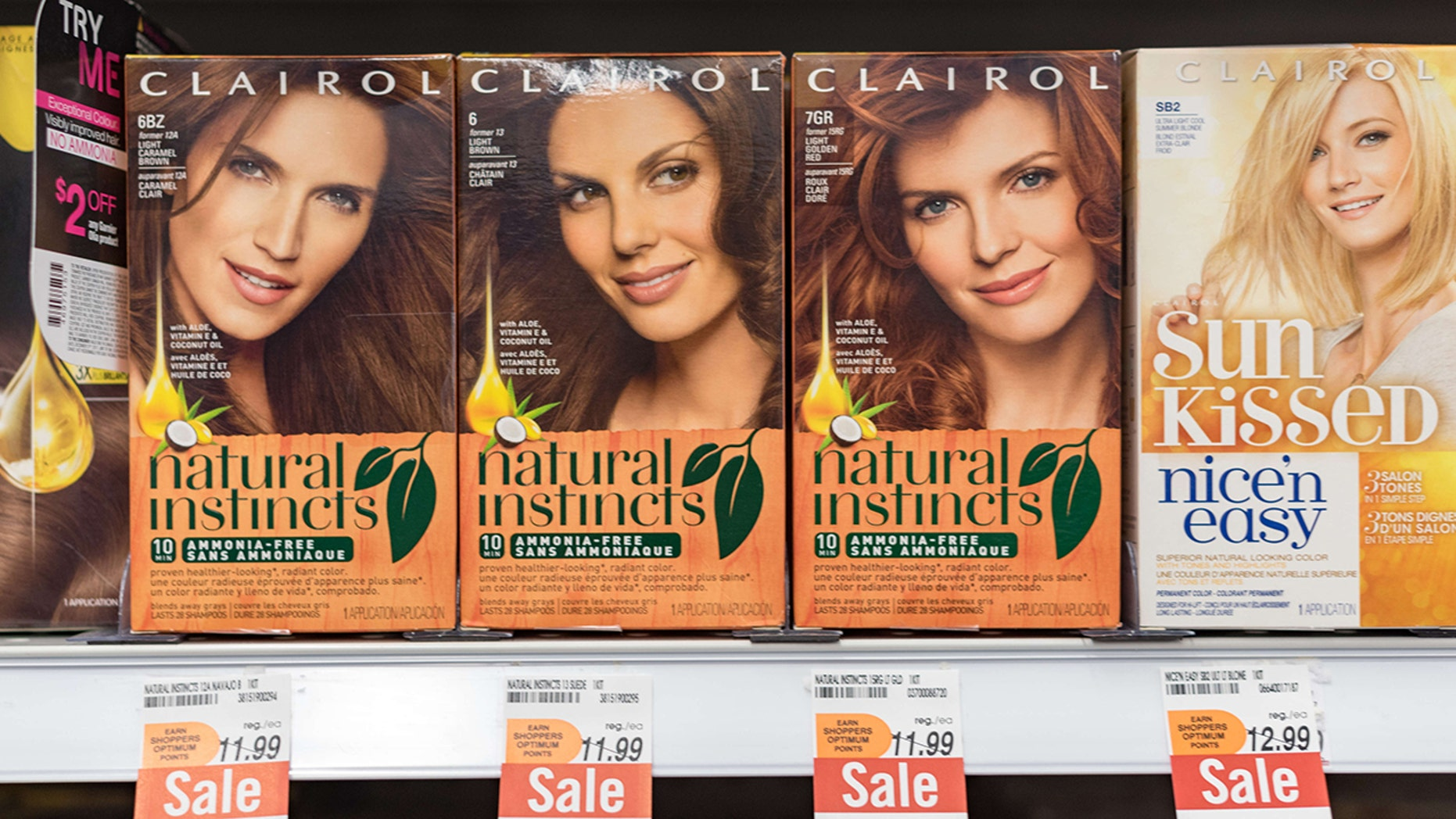 Clairol 'Natural Instincts' Hair Dye boxesaredpicture  in store shelf.