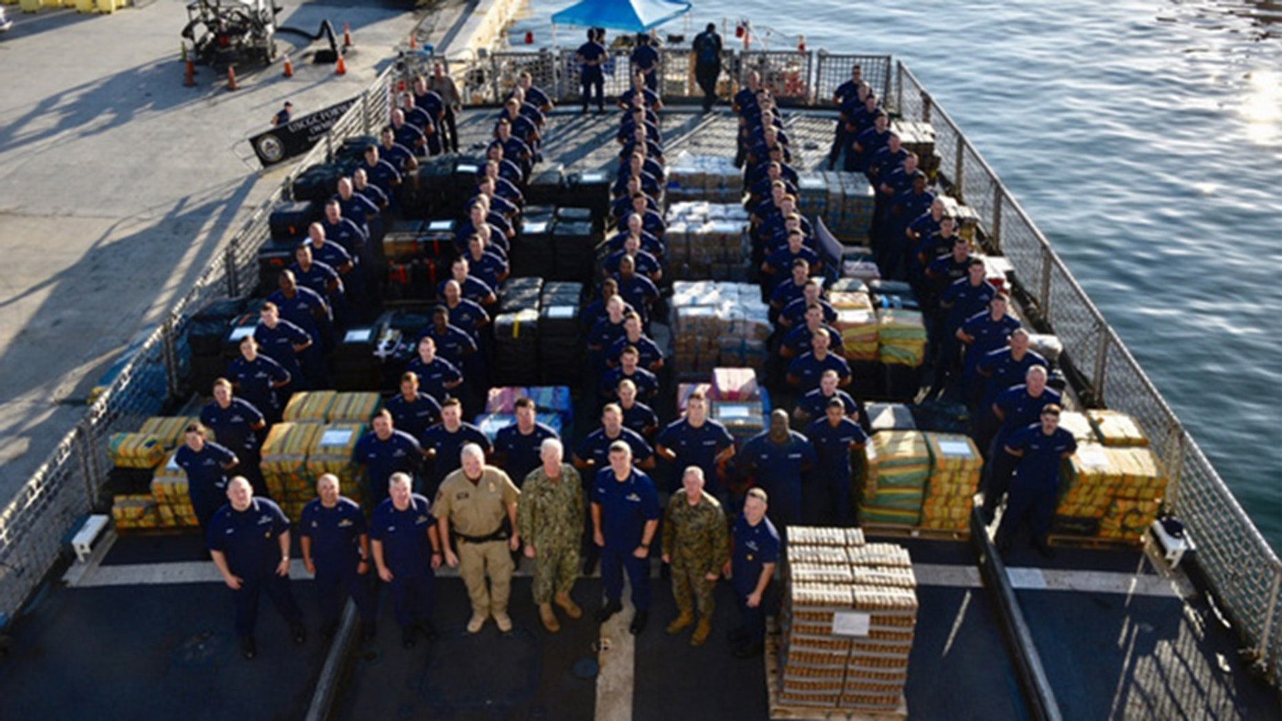 Nearly 35,000 pounds of cocaine was seized in international waters by the Coast Guard and off-loaded in Florida on Tuesday, officials said.