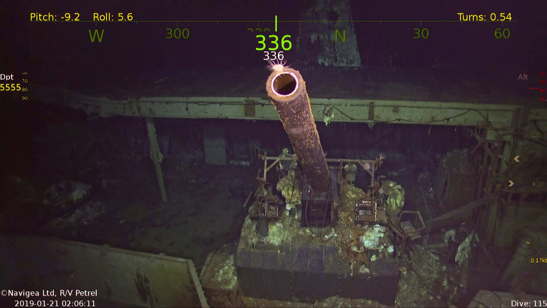 This photo provided by Paul G. Allen's Vulcan Inc. shows a five inch gun at the wreckage of the USS Hornet.  A research vessel funded by the late Seattle billionaire Paul Allen has discovered the wreckage of the aircraft carrier sunk in the South Pacific during World War II. Allen's Vulcan Inc. announced this week of Feb. 10, 2019,  that an autonomous submarine sent by the crew of the research vessel Petrel found the USS Hornet nearly 17,500 feet (5,400 meters) deep near the Solomon Islands. The Hornet was best known for its part in the Doolittle Raid in April 1942, the first air attack on Japan.  (Paul G. Allen's Vulcan Inc. via AP)