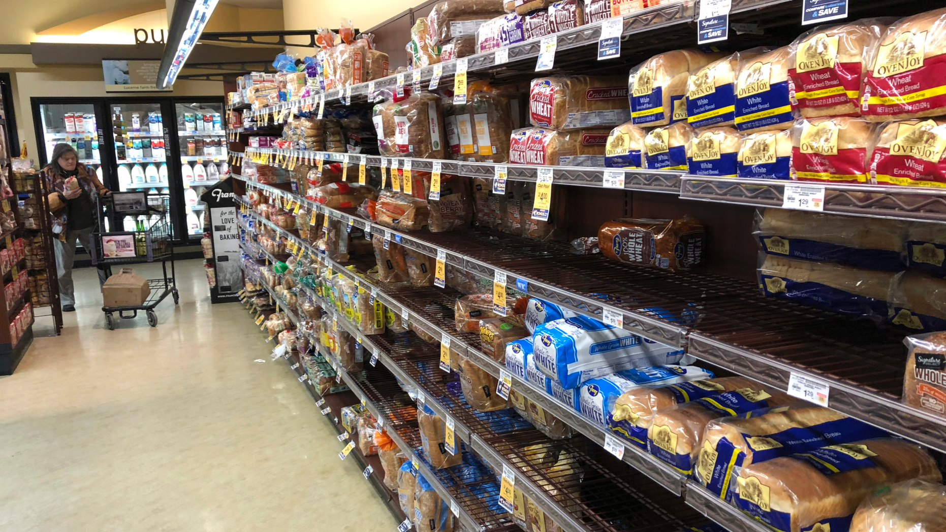 FILE- This Feb. 7, 2019, file photo shows the bread section of a Safeway store in Tacoma, Wash. On Wednesday, Feb. 13, 2019, the Labor Department reports on U.S. consumer prices for January. (AP Photo/Ted S. Warren, File)