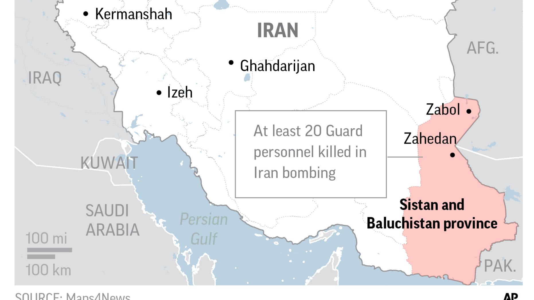 Map locates Sistan and Baluchistan in Iran.;