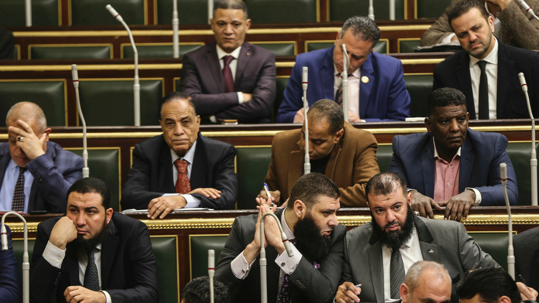 Members of Egypt's Parliament meet to deliberate constitutional amendments that could allow President Abdel-Fattah el-Sissi to stay in office till 2034, in Cairo Egypt, Wednesday, Feb 13, 2019. Wednesday's session will lead to a vote later in the evening or on Thursday, after which the text of the amendments would be finalized by a special committee for a final decision within two months. El-Sissi's current second term expires in 2022. (AP Photo)