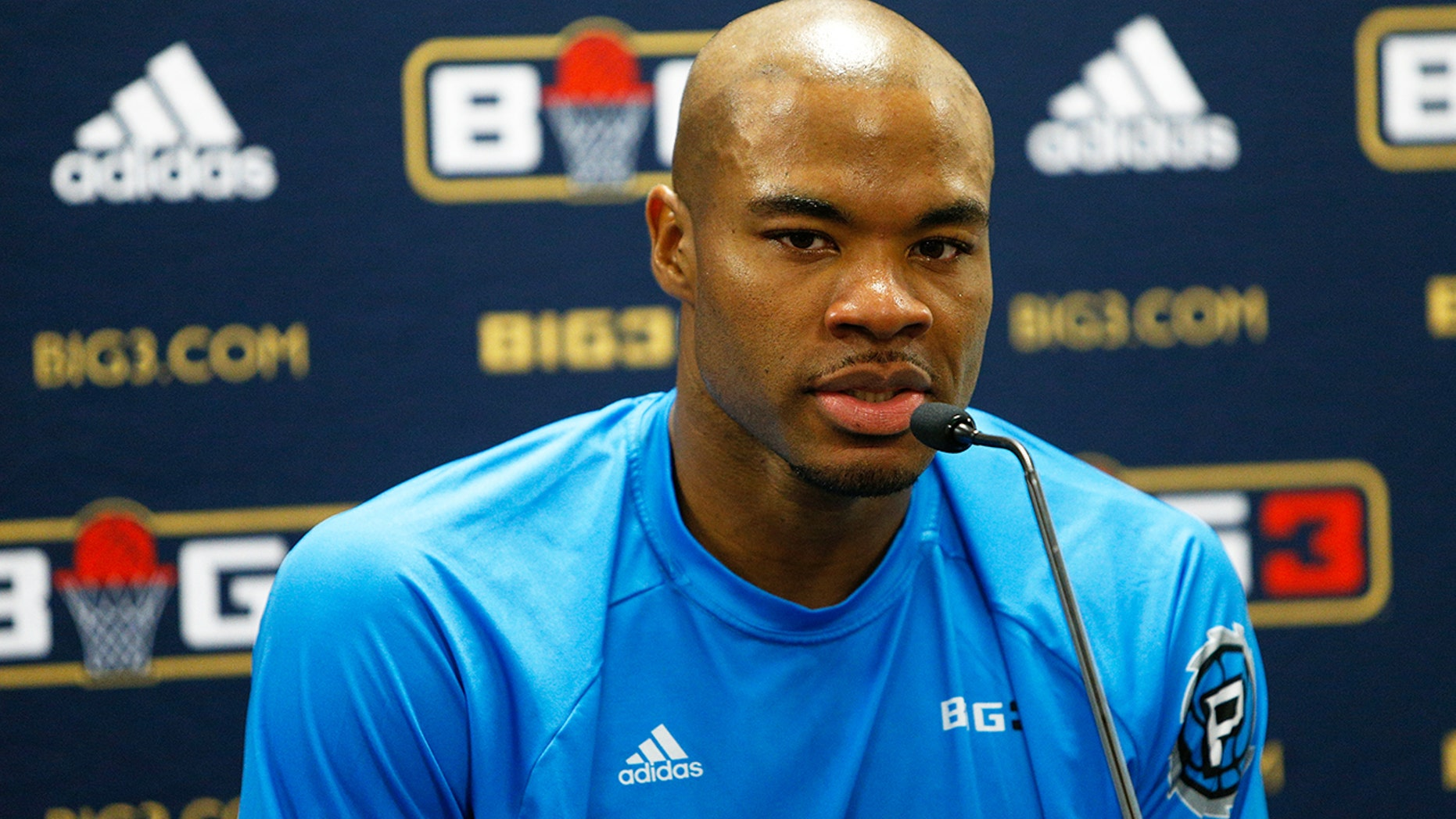 AUGUST 10: Corey Maggette answers questions from the media during week eight of the BIG3 three on three basketball league at Infinite Energy Arena in Duluth, Georgia. (Getty Images)
