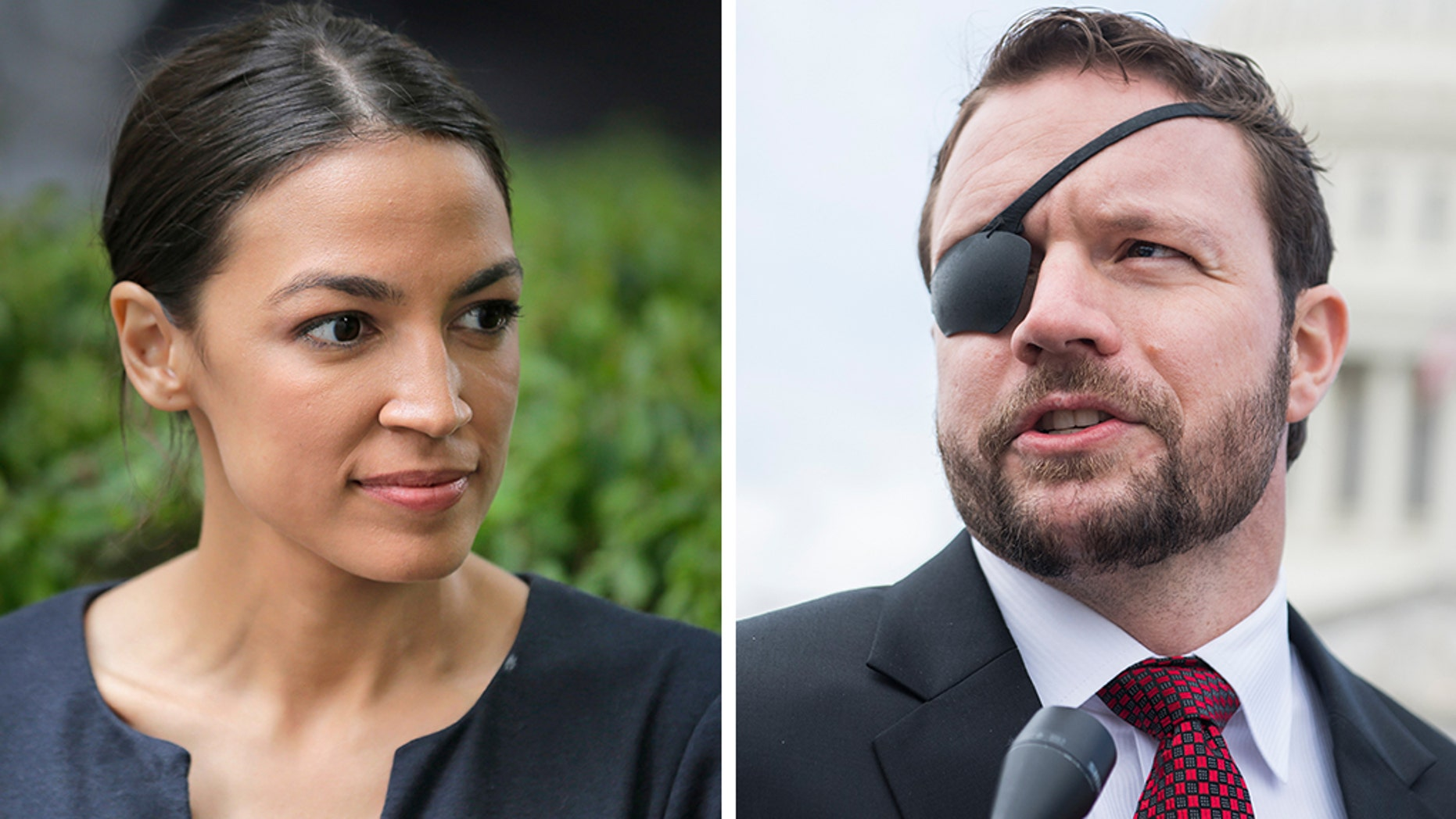Rep. Dan Crenshaw, R-Texas, right, who lost an eye as a Navy SEAL in Afghanistan, tweeted a shot at both the New England Patriots monopoly and the progressive ideas of Rep.Alexandria Ocasio-Cortez, D-N.Y. (AP / Getty)