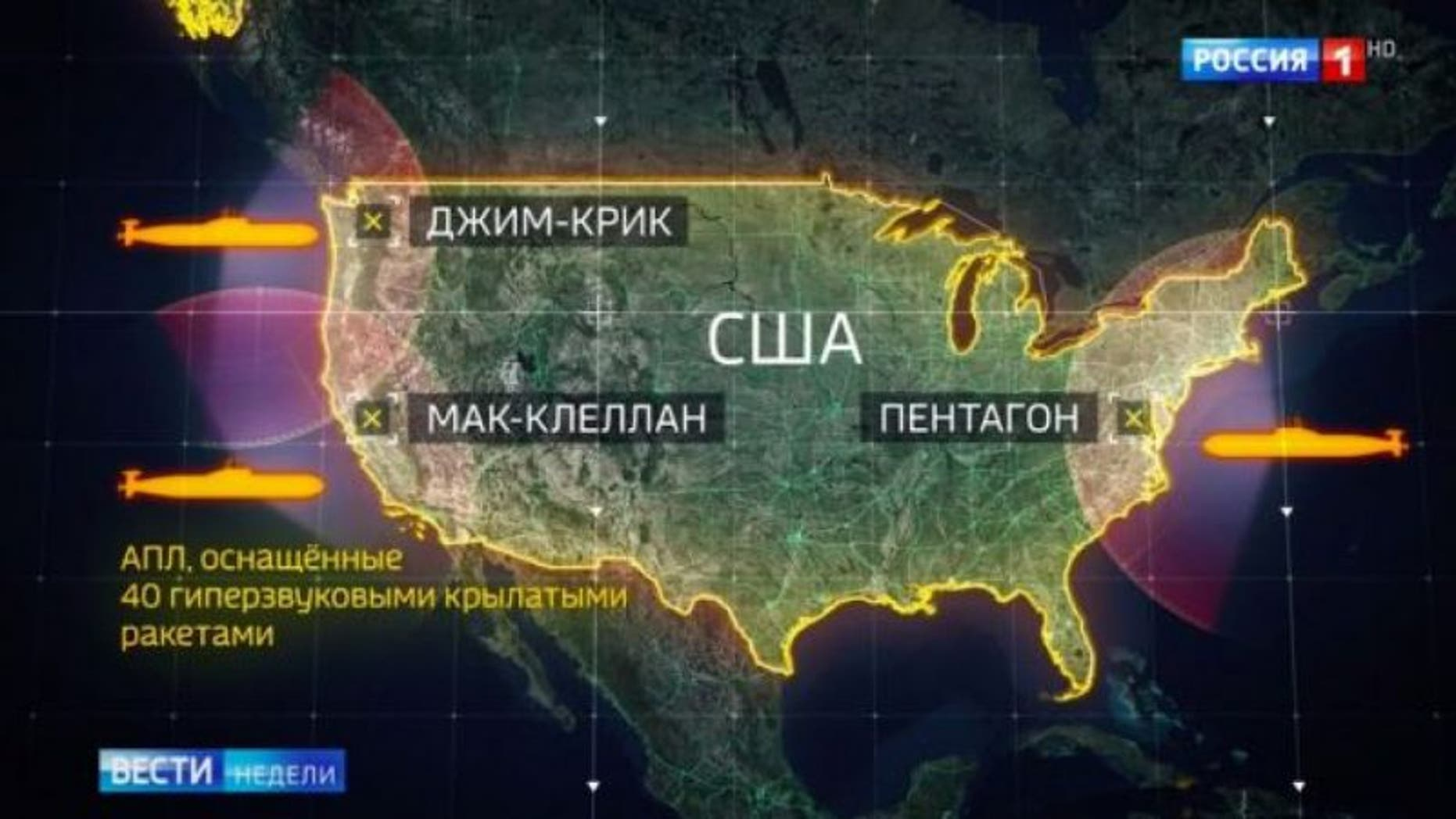 Russian state TV on Sunday listed potential targets in the U.S. in the event of a nuclear strike.