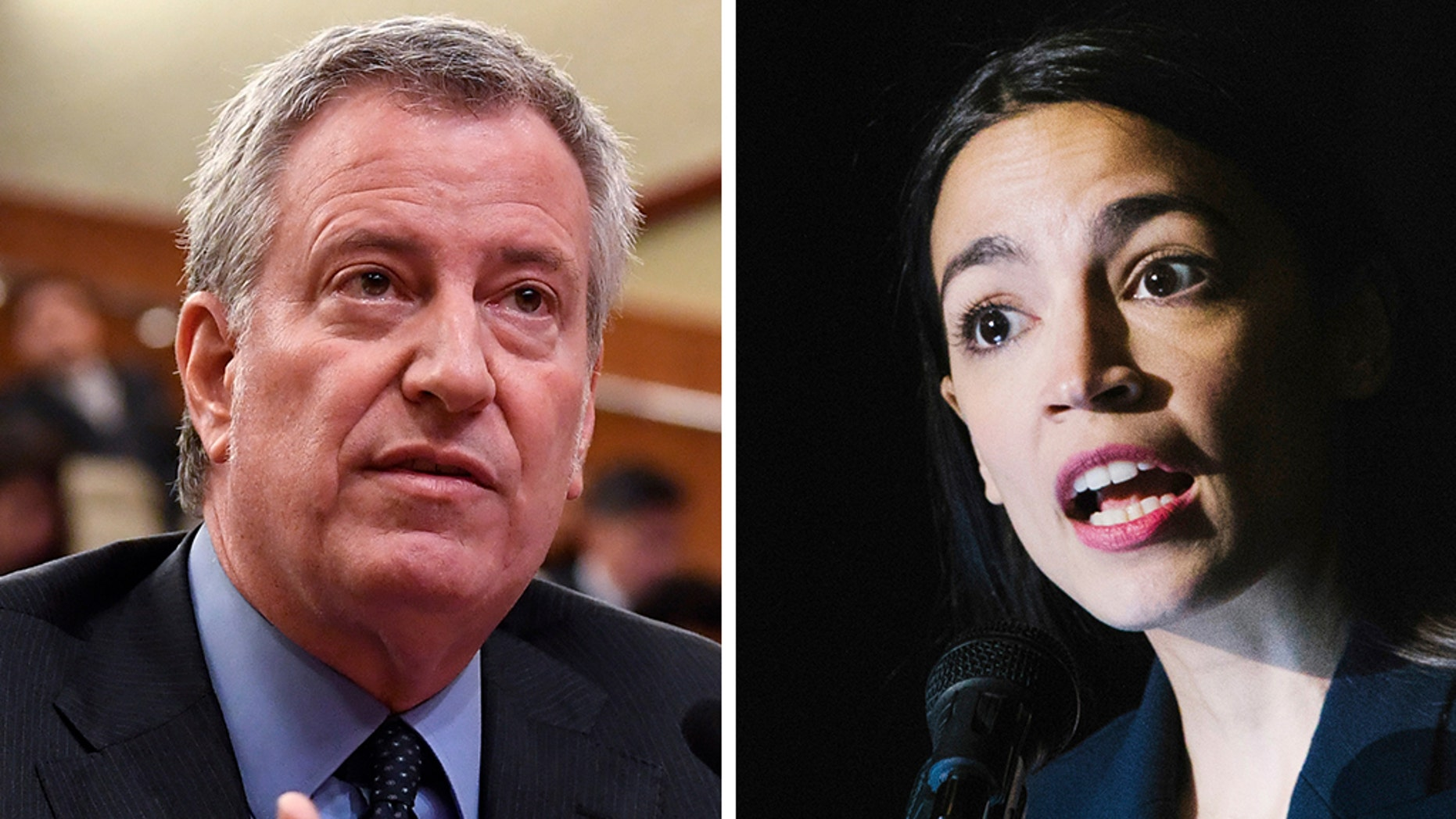 New York City Mayor Bill de Blasio, left, said Sunday that Democratic Rep. Alexandria Ocasio-Cortez, right, was wrong to have claimed the collapse of the Amazon deal would free up $3 billion to fix the city's subways and hire more teachers. (AP)