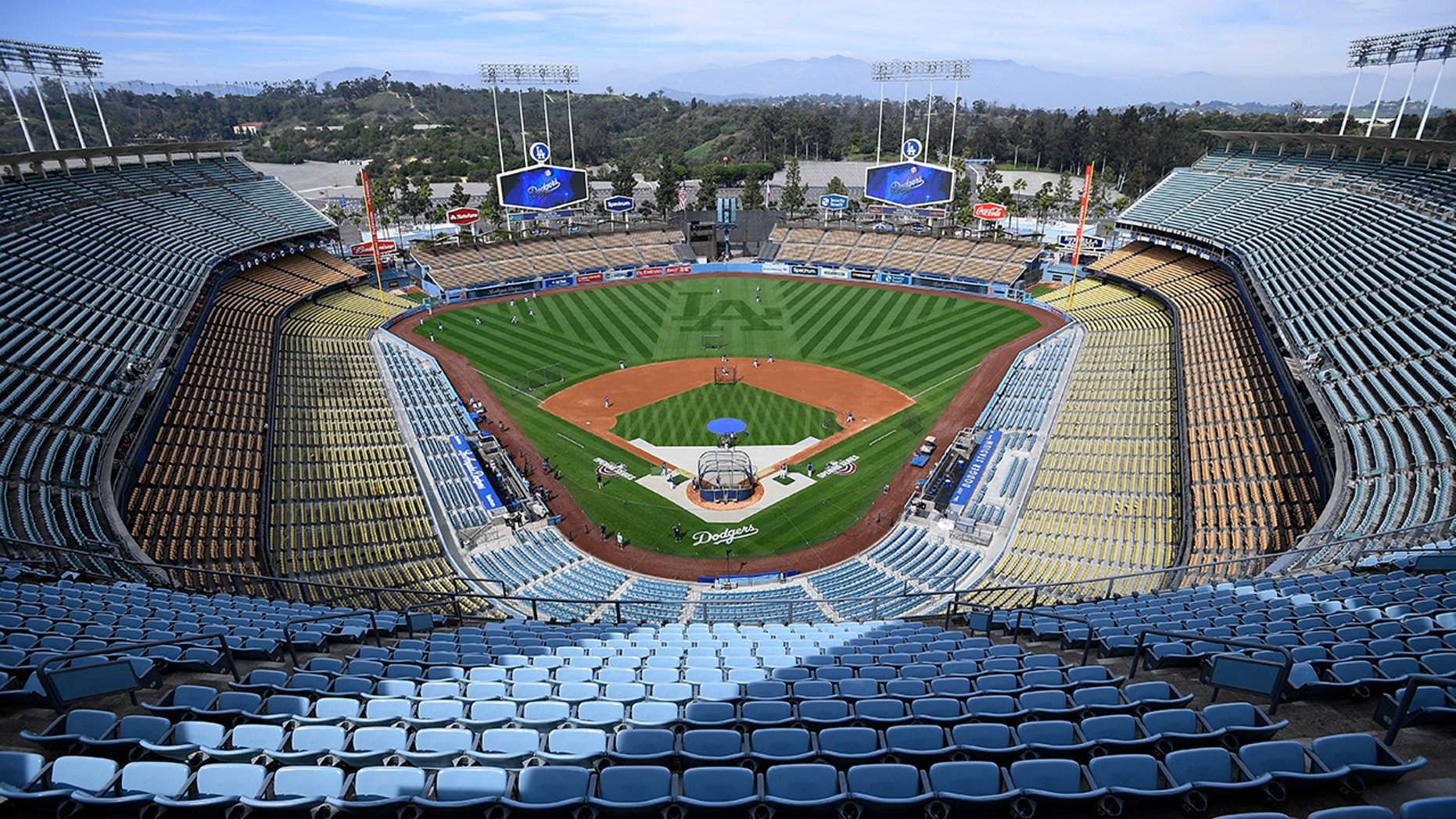 FILE: Overhead view of Dodger Stadium before a game. (Photo by John McCoy/Getty Images)