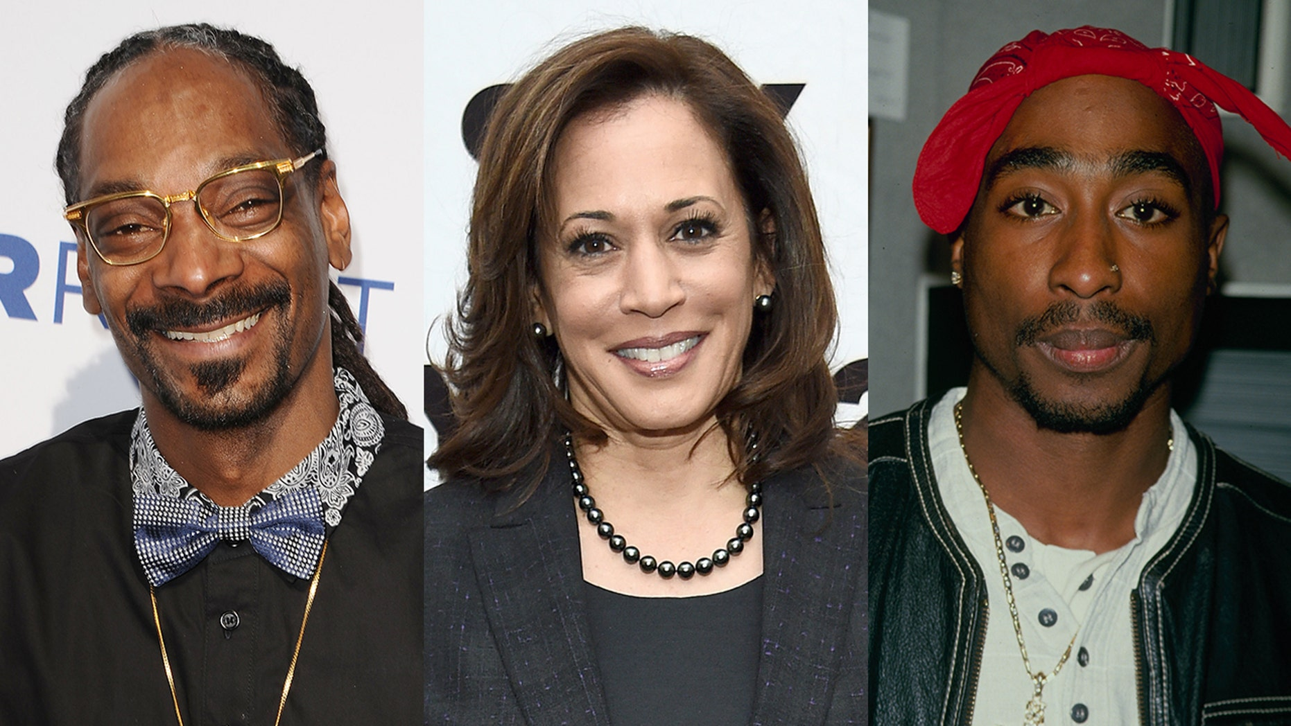 Sen. Kamala Harris said she listened to Snoop Dogg and Tupac when smoking pot in college, but the rappers hadn't released music until after she graduated.